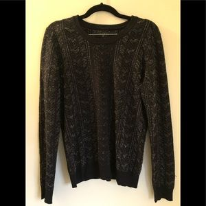 Rag & Bone Black Metallic Print Scoop Neck Sweater
